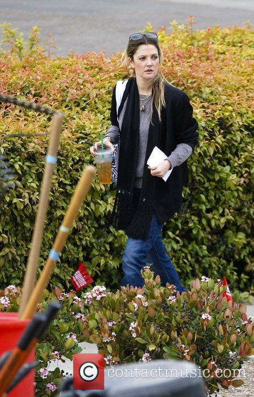 Drew Barrymore volunteering at the San Diego food...