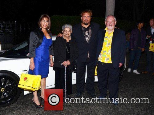 Freddie Mercury's mother Jer Bulsara, leaving the Savoy...