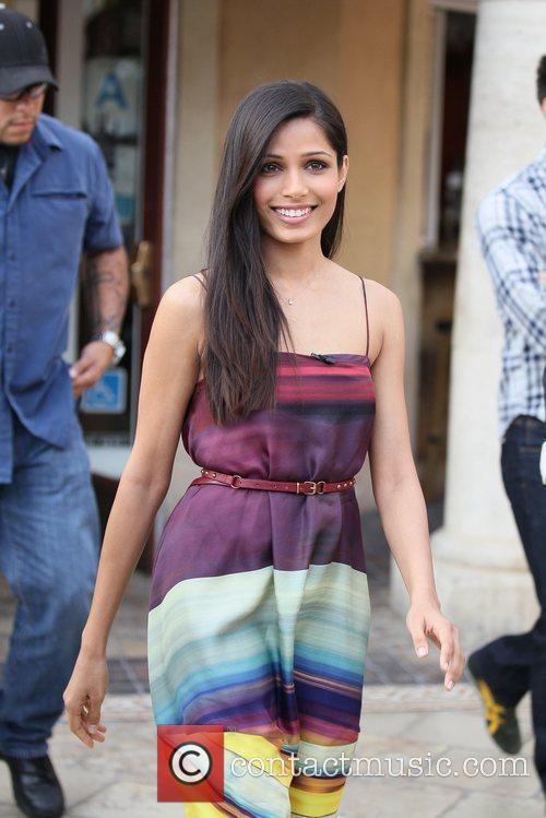 freida pinto seen at the grove filming 5752626