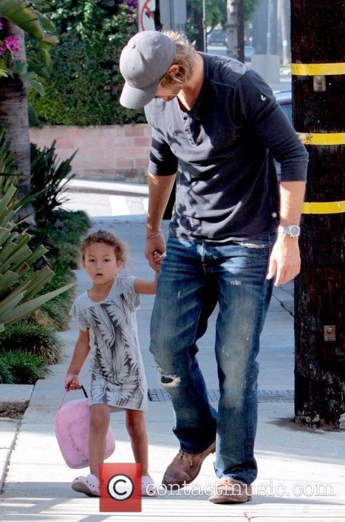Gabriel Aubry drops off his daughter at school...