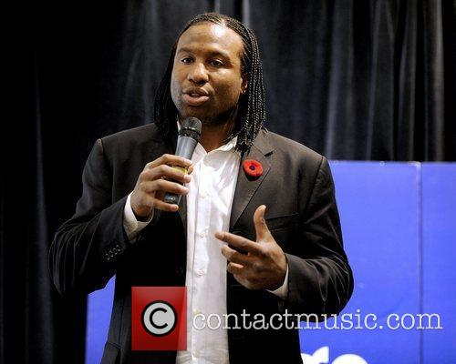 Former NHL player, Georges Laraque, signs his latest...