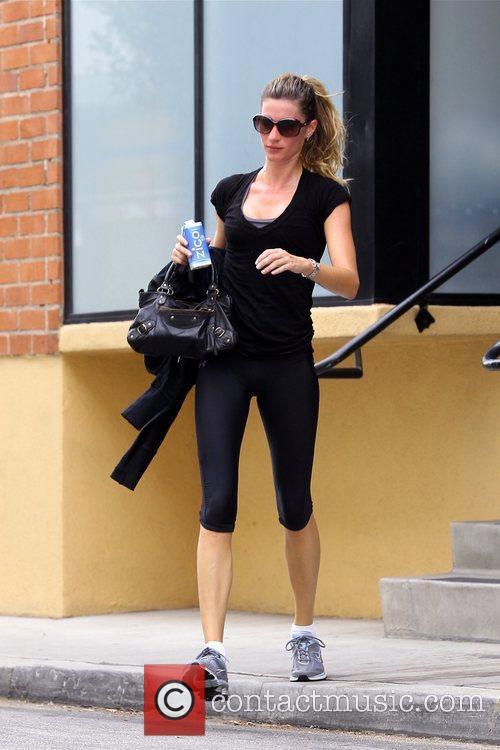 Gisele Bundchen is seen leaving the gym in...