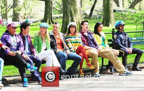 Filming on the set of 'Glee' on location...