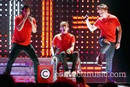 Harry Shum, Kevin McHale and Chord Overstreet perform...