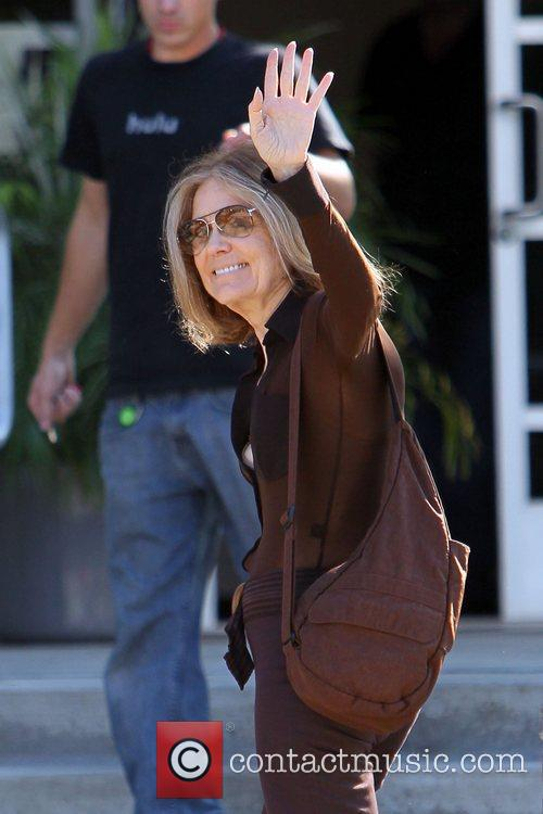 Gloria Steinem outside the Westside Media Centre to...