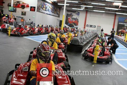 Indoor Atmosphere,  at the Celebrity Go-Kart Tournament...