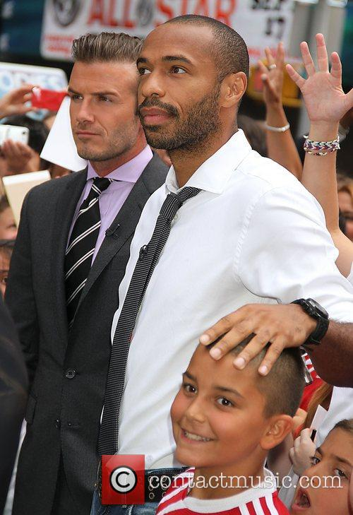 David Beckham and Thierry Henry outside ABC studios...