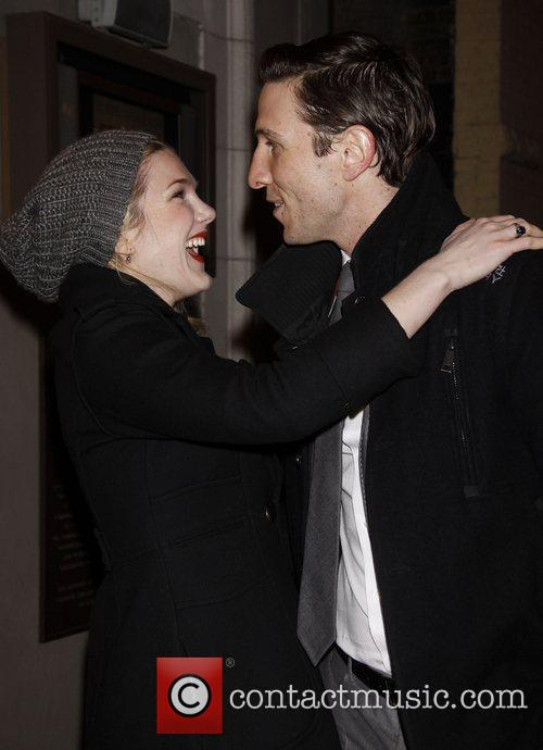 Lily Rabe greets Pablo Schreiber Opening night of...