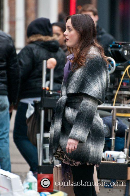 Leighton Meester on the set of 'Gossip Girl',...