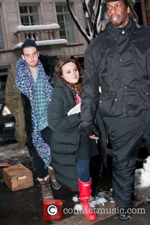 Leighton Meester on the set of Gossip Girl...