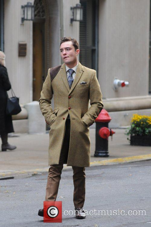 Ed Westwick  on the set of '...