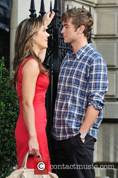 Elizabeth Hurley and Chase Crawford,  shooting a...