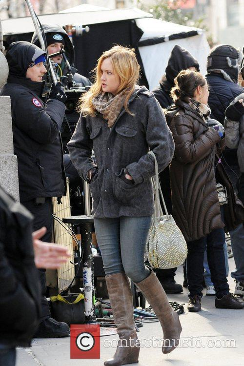 Katie Cassidy on the set of Gossip Girl...