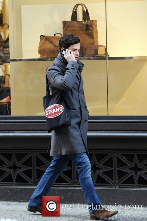 Penn Badgley on the set of Gossip Girl...