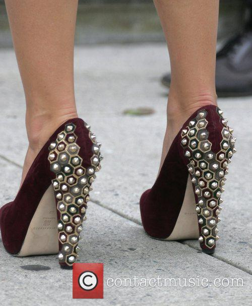 Blake Lively's studded high heels on the set...