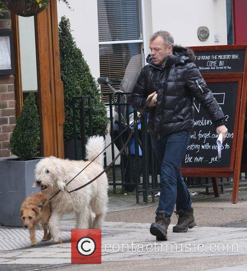Graham Norton walking his dogs in Central London...