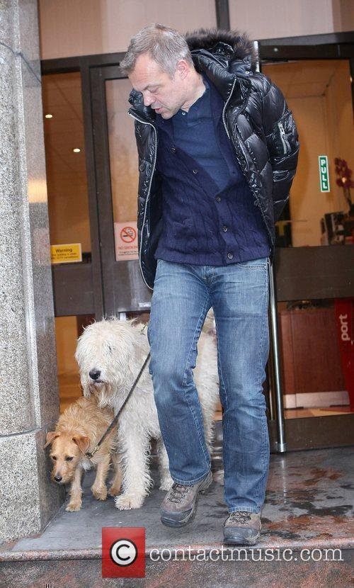 Leaving 'Talk Sport' radio with his dogs