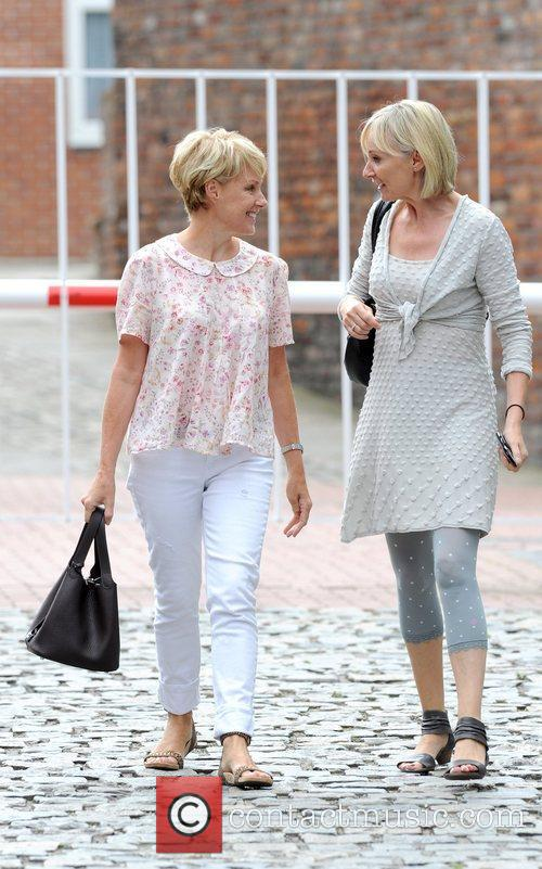 Sally Dynevor (L) in good spirits as she...