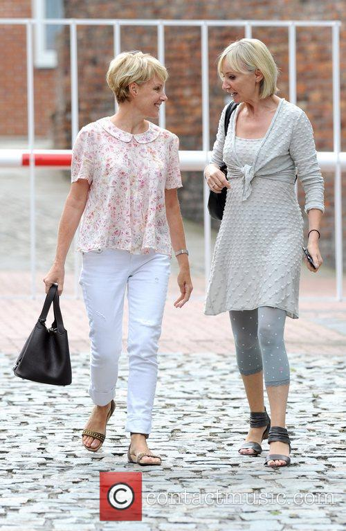 Sally Dynevor L In Good Spirits As She Chats With A