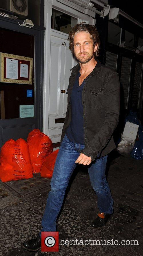 Gerard Butler leaving the Groucho Club in Soho...