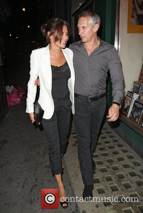 Gary Lineker and Danielle Bux leaving the Groucho...