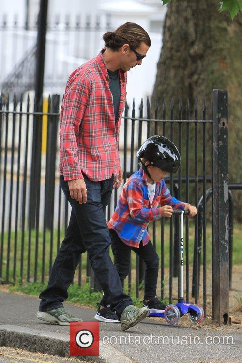 Gavin Rossdale in Primrose Hill with his son...