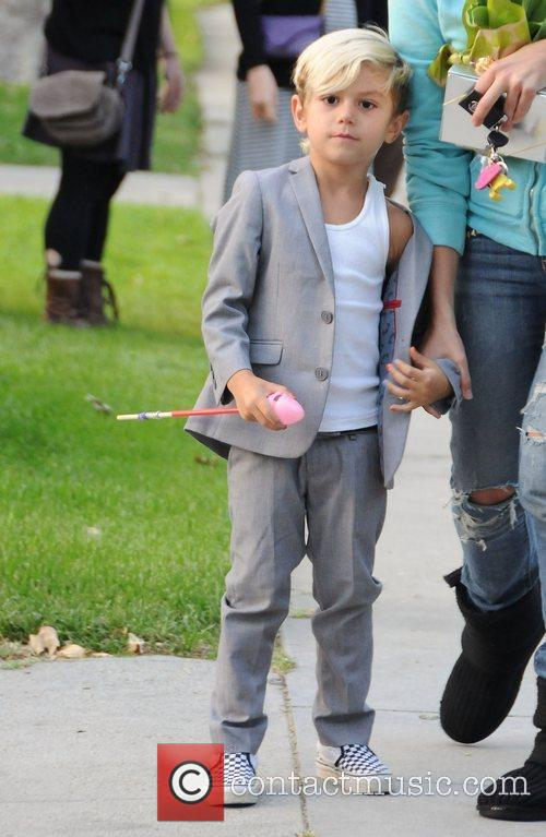 Kingston Rossdale outside his Grandmother's house after have...