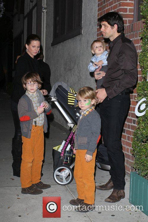 Kristoffer Polaha and family  Celebrities arrive at...