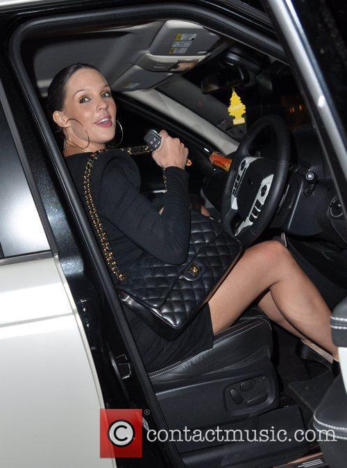 Pregnant Danielle Lloyd leaving Hakkasan restaurant in Mayfair.