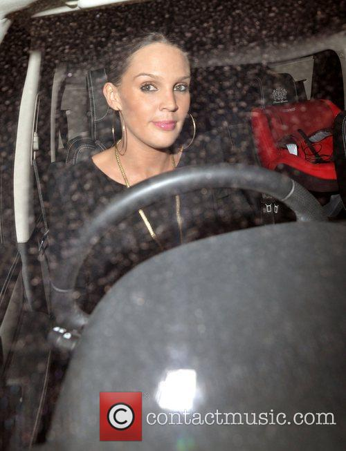 Pregnant Danielle Lloyd leaving Hakkasan restaurant in Mayfair....