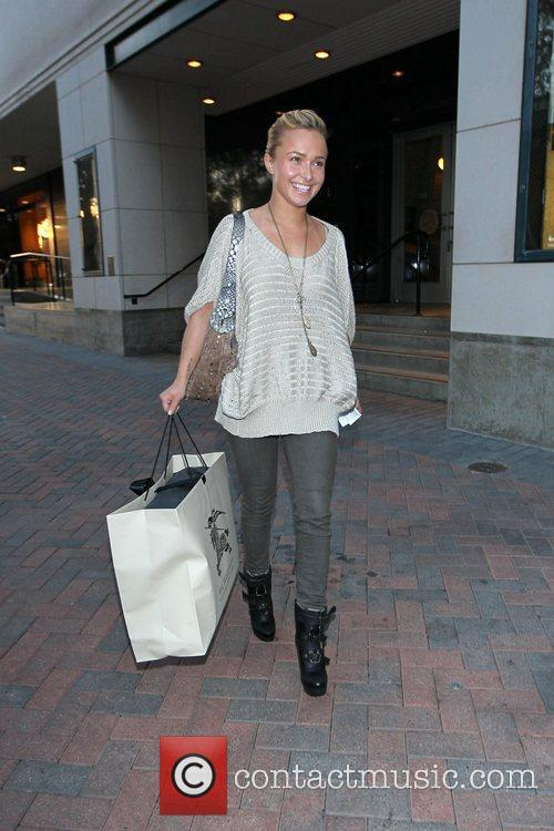 Hayden Panettiere exiting Burberry boutique in Beverly Hills....