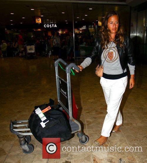 Jade Jagger at Heathrow airport London, England