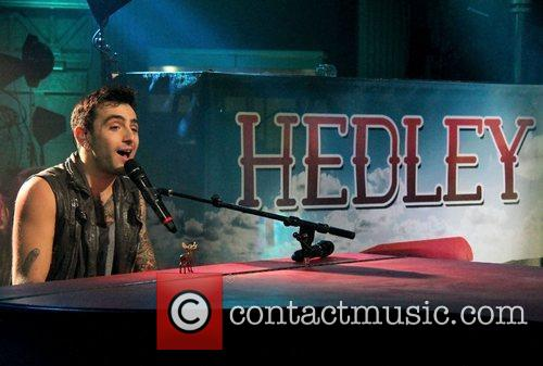 Canadian pop rock band Hedley perform live on...