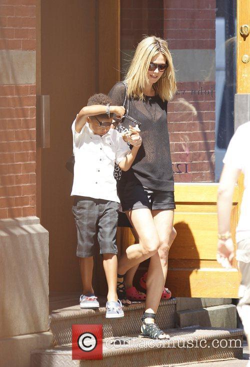 Heidi Klum with son Johan walking in Manhattan....
