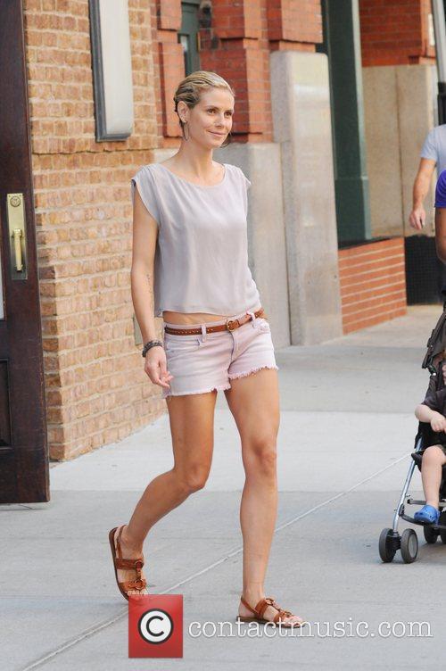 Heidi Klum  departs her hotel after doing...