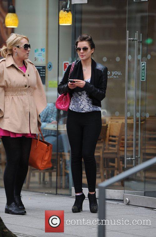 Helen Flanagan leaving Starbucks with a friend Manchester,...