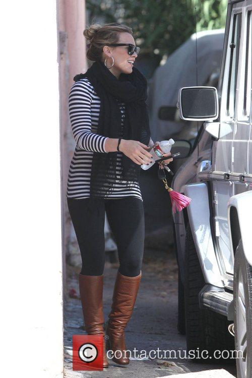 Newly pregnant Hilary Duff is seen in good...