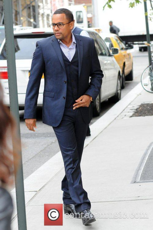 Hill Harper leaving his Manhattan Hotel New York...