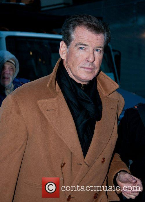 Pierce Brosnan is seen on the set of...