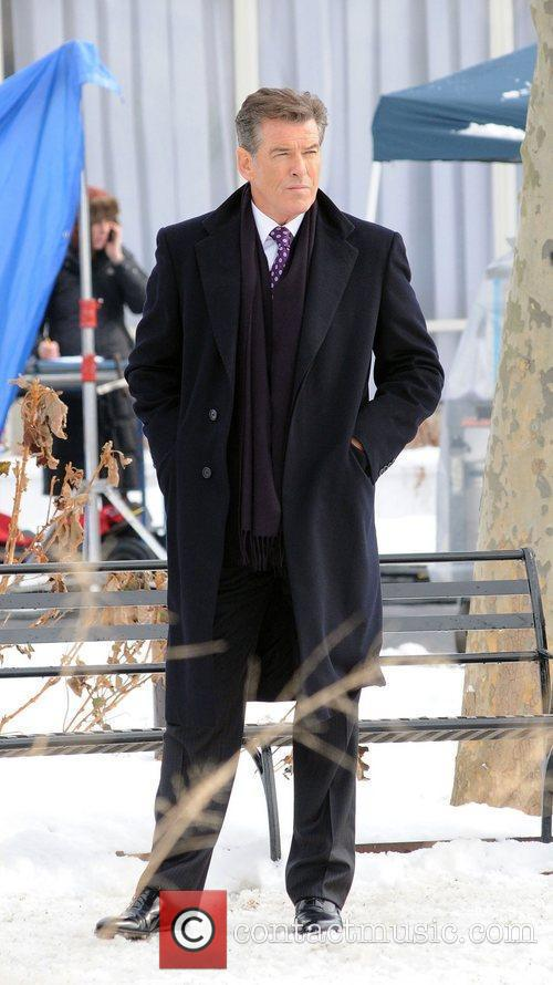 Pierce Brosnan on the set of the film...