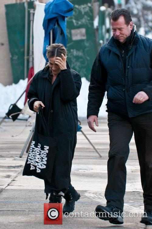 Sarah Jessica Parker filming on the set of...
