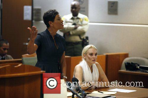 Lindsay Lohan with her lawyer at the Los...