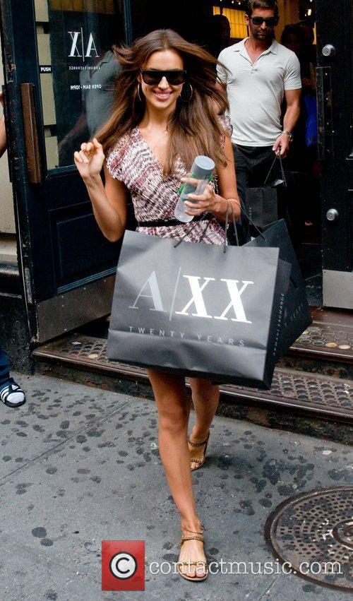 Irina Shayk  leaving the Armani Exchange store...