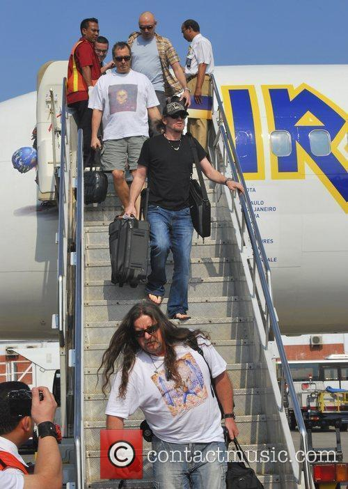 Band members of Iron Maiden arriving in Bali...