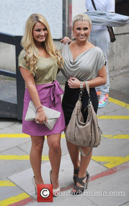 Sam Faiers and Billie Faiers  outside the...