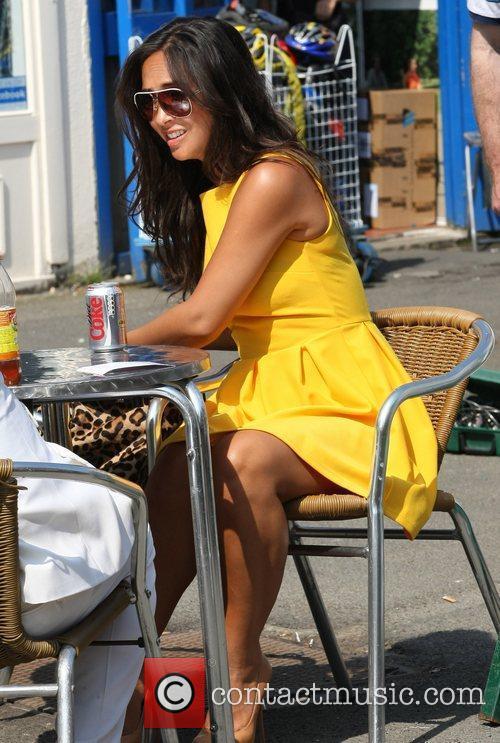 Myleene Klass enjoys a cool drink ITV Studios...