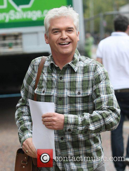 Phillip Schofield leaving the ITV studios after presenting...