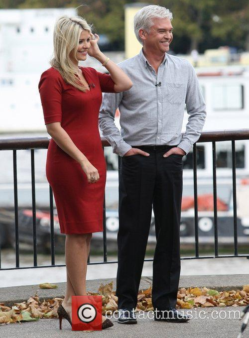 Phillip Schofield and Holly Willoughby filming outside the...