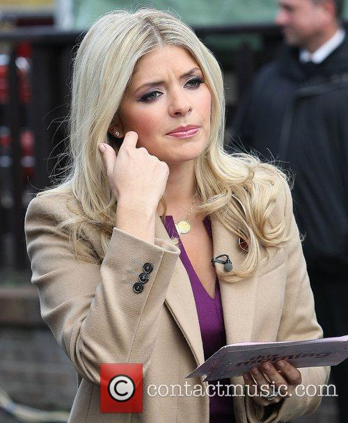 Presenter Holly Willoughby  filming outside the ITV...