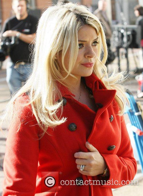 Holly Willoughby  filming outside the ITV studios...